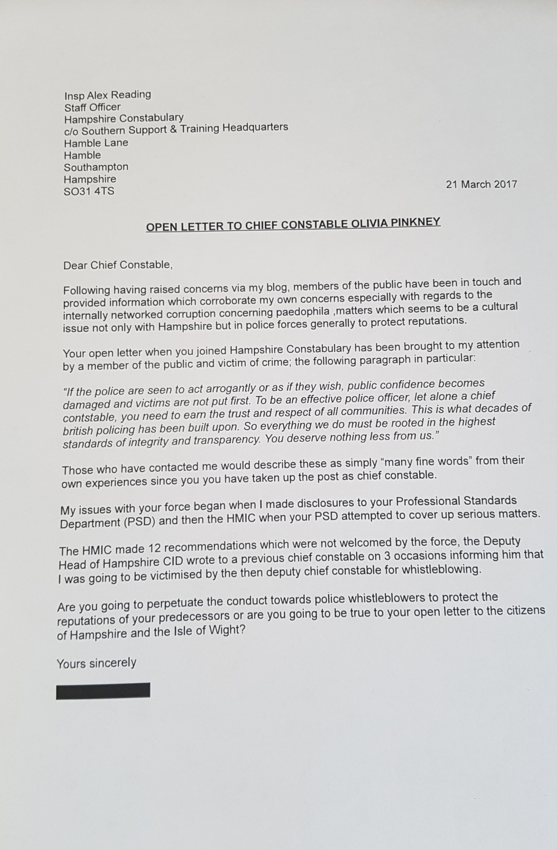 21-3-17 open letter to Pinkney